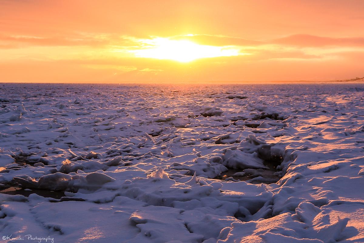 網走の流氷と日の出