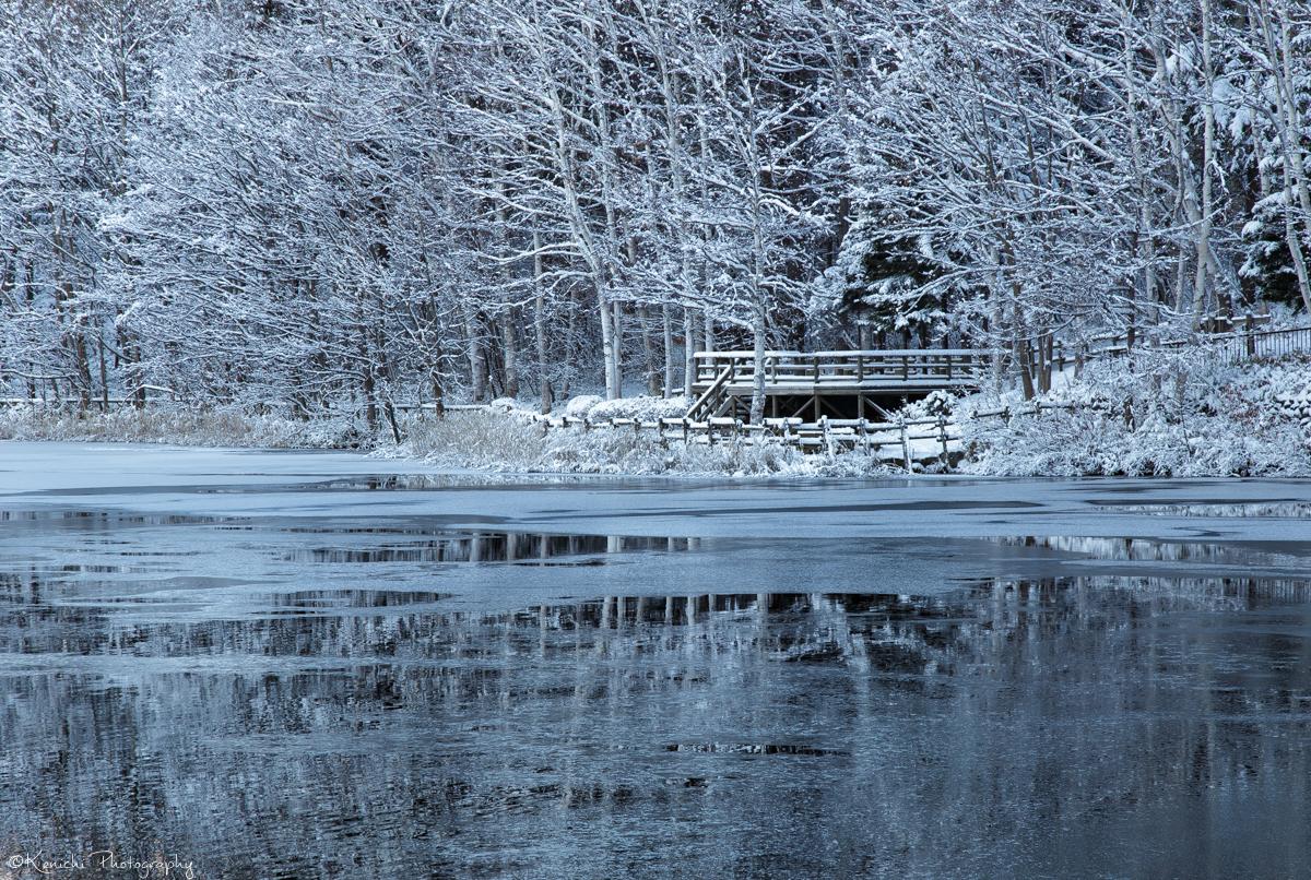 凍結寸前の湖面