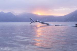 優しい光に包まれた支笏湖の朝